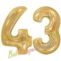 Luftballons aus Folie Zahl 43, Gold, holografisch, 100 cm mit Helium zum 43. Geburtstag