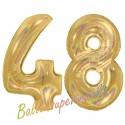 Luftballons aus Folie Zahl 48, Gold, holografisch, 100 cm mit Helium zum 48. Geburtstag