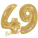 Luftballons aus Folie Zahl 49, Gold, holografisch, 100 cm mit Helium zum 49. Geburtstag