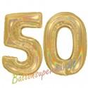Luftballons aus Folie Zahl 50, Gold, holografisch, 100 cm mit Helium zum 50. Geburtstag