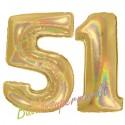 Luftballons aus Folie Zahl 51, Gold, holografisch, 100 cm mit Helium zum 51. Geburtstag