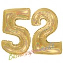 Luftballons aus Folie Zahl 52, Gold, holografisch, 100 cm mit Helium zum 52. Geburtstag