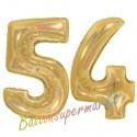 Luftballons aus Folie Zahl 54, Gold, holografisch, 100 cm mit Helium zum 54. Geburtstag