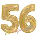 Luftballons aus Folie Zahl 56, Gold, holografisch, 100 cm mit Helium zum 56. Geburtstag