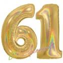 Luftballons aus Folie Zahl 61, Gold, holografisch, 100 cm mit Helium zum 61. Geburtstag