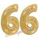 Luftballons aus Folie Zahl 66, Gold, holografisch, 100 cm mit Helium zum 66. Geburtstag
