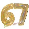 Luftballons aus Folie Zahl 67, Gold, holografisch, 100 cm mit Helium zum 67. Geburtstag