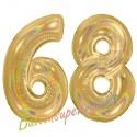Luftballons aus Folie Zahl 68, Gold, holografisch, 100 cm mit Helium zum 68. Geburtstag