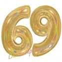 Luftballons aus Folie Zahl 69, Gold, holografisch, 100 cm mit Helium zum 69. Geburtstag