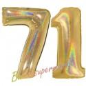 Luftballons aus Folie Zahl 71, Gold, holografisch, 100 cm mit Helium zum 71. Geburtstag
