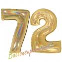 Luftballons aus Folie Zahl 72, Gold, holografisch, 100 cm mit Helium zum 72. Geburtstag