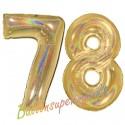 Luftballons aus Folie Zahl 78, Gold, holografisch, 100 cm mit Helium zum 78. Geburtstag