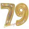 Luftballons aus Folie Zahl 79, Gold, holografisch, 100 cm mit Helium zum 79. Geburtstag