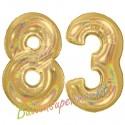 Luftballons aus Folie Zahl 83, Gold, holografisch, 100 cm mit Helium zum 83. Geburtstag