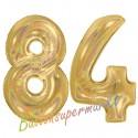 Luftballons aus Folie Zahl 84, Gold, holografisch, 100 cm mit Helium zum 84. Geburtstag