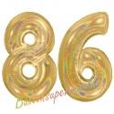 Luftballons aus Folie Zahl 86, Gold, holografisch, 100 cm mit Helium zum 86. Geburtstag