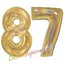 Luftballons aus Folie Zahl 87, Gold, holografisch, 100 cm mit Helium zum 87. Geburtstag