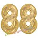Luftballons aus Folie Zahl 88, Gold, holografisch, 100 cm mit Helium zum 88. Geburtstag