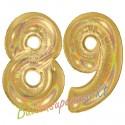 Luftballons aus Folie Zahl 89, Gold, holografisch, 100 cm mit Helium zum 89. Geburtstag