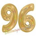 Luftballons aus Folie Zahl 96, Gold, holografisch, 100 cm mit Helium zum 96. Geburtstag
