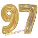 Luftballons aus Folie Zahl 97, Gold, holografisch, 100 cm mit Helium zum 97. Geburtstag
