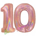 Luftballons aus Folie Zahl 10, Rosegold, holografisch, 100 cm mit Helium zum 10. Geburtstag
