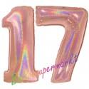 Luftballons aus Folie Zahl 17, Rosegold, holografisch, 100 cm mit Helium zum 17. Geburtstag