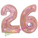 Luftballons aus Folie Zahl 26, Rosegold, holografisch, 100 cm mit Helium zum 26. Geburtstag