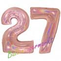 Luftballons aus Folie Zahl 27, Rosegold, holografisch, 100 cm mit Helium zum 27. Geburtstag