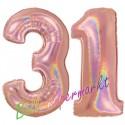 Luftballons aus Folie Zahl 31, Rosegold, holografisch, 100 cm mit Helium zum 31. Geburtstag