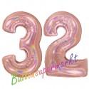 Luftballons aus Folie Zahl 32, Rosegold, holografisch, 100 cm mit Helium zum 32. Geburtstag