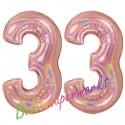 Luftballons aus Folie Zahl 33, Rosegold, holografisch, 100 cm mit Helium zum 33. Geburtstag