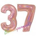 Luftballons aus Folie Zahl 37, Rosegold, holografisch, 100 cm mit Helium zum 37. Geburtstag