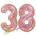 Luftballons aus Folie Zahl 38, Rosegold, holografisch, 100 cm mit Helium zum 38. Geburtstag