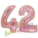 Luftballons aus Folie Zahl 42, Rosegold, holografisch, 100 cm mit Helium zum 42. Geburtstag