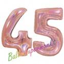 Luftballons aus Folie Zahl 45, Rosegold, holografisch, 100 cm mit Helium zum 45. Geburtstag