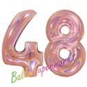 Luftballons aus Folie Zahl 48, Rosegold, holografisch, 100 cm mit Helium zum 48. Geburtstag