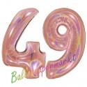 Luftballons aus Folie Zahl 49, Rosegold, holografisch, 100 cm mit Helium zum 49. Geburtstag