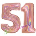 Luftballons aus Folie Zahl 51, Rosegold, holografisch, 100 cm mit Helium zum 51. Geburtstag