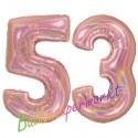 Luftballons aus Folie Zahl 53, Rosegold, holografisch, 100 cm mit Helium zum 53. Geburtstag