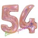 Luftballons aus Folie Zahl 54, Rosegold, holografisch, 100 cm mit Helium zum 54. Geburtstag
