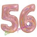 Luftballons aus Folie Zahl 56, Rosegold, holografisch, 100 cm mit Helium zum 56. Geburtstag