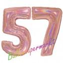 Luftballons aus Folie Zahl 57, Rosegold, holografisch, 100 cm mit Helium zum 57. Geburtstag