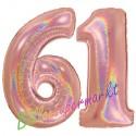 Luftballons aus Folie Zahl 61, Rosegold, holografisch, 100 cm mit Helium zum 61. Geburtstag