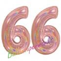 Luftballons aus Folie Zahl 66, Rosegold, holografisch, 100 cm mit Helium zum 66. Geburtstag