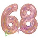 Luftballons aus Folie Zahl 68, Rosegold, holografisch, 100 cm mit Helium zum 68. Geburtstag