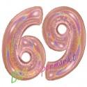 Luftballons aus Folie Zahl 69, Rosegold, holografisch, 100 cm mit Helium zum 69. Geburtstag