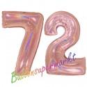 Luftballons aus Folie Zahl 72, Rosegold, holografisch, 100 cm mit Helium zum 72. Geburtstag