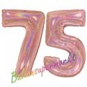 Luftballons aus Folie Zahl 75 Rosegold, holografisch, 100 cm mit Helium zum 75. Geburtstag