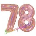 Luftballons aus Folie Zahl 78, Rosegold, holografisch, 100 cm mit Helium zum 78. Geburtstag